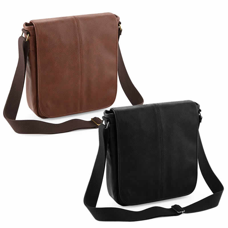 Full grain leather-look NuHide™ PU Messenger Bag