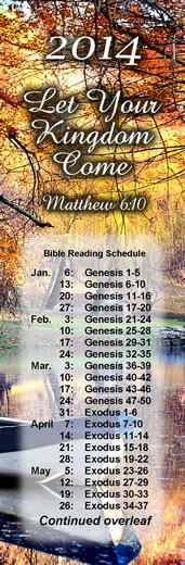 2014 Bible Reading Bookmarks Pack of 10\ width=
