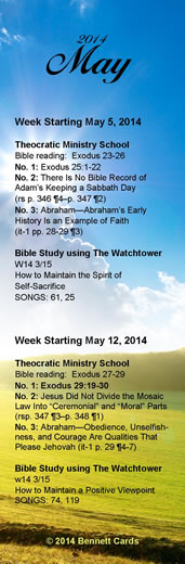 Bookmarks for School Schedule May 2014\ width=