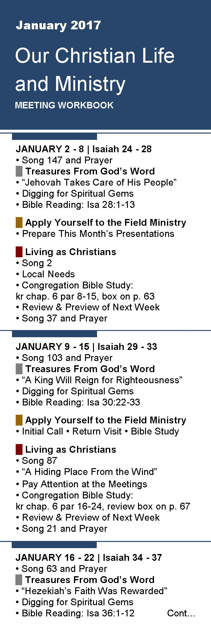 Workbooks prayer workbook : Free Bookmarks for Meeting Workbook JANUARY 2017 - Jehovah's ...