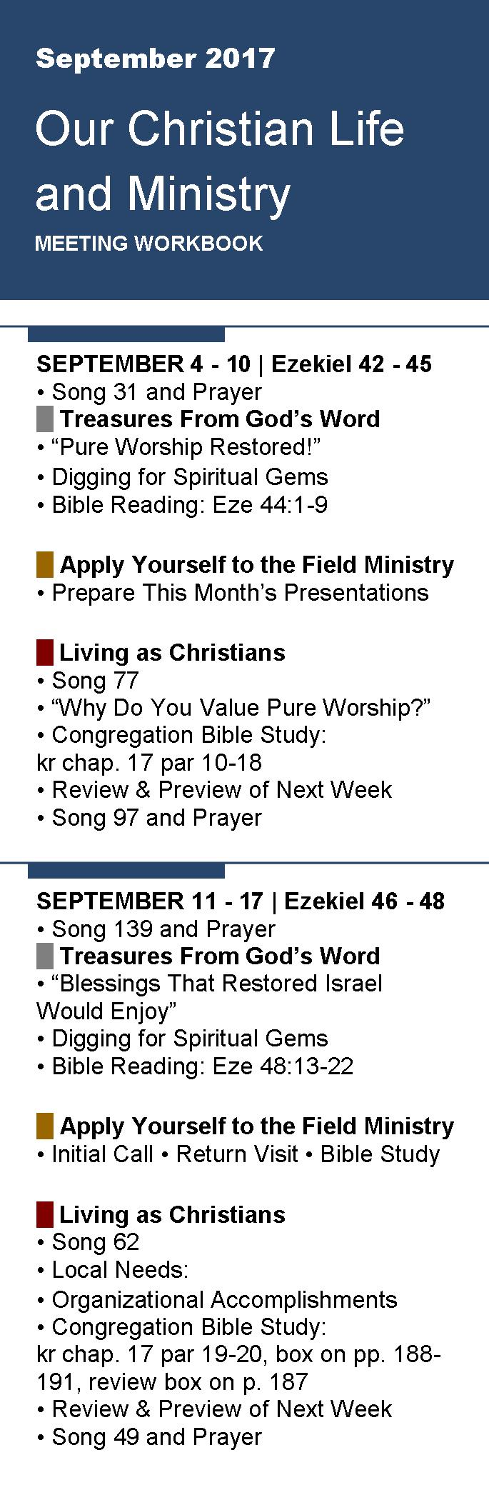 Free Bookmarks for Meeting Workbook September 2017 - Jehovah's ...