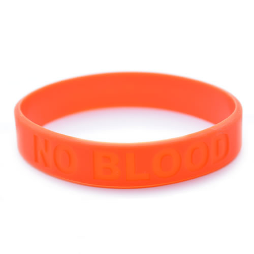 No Blood Silicone Wristband\ width=
