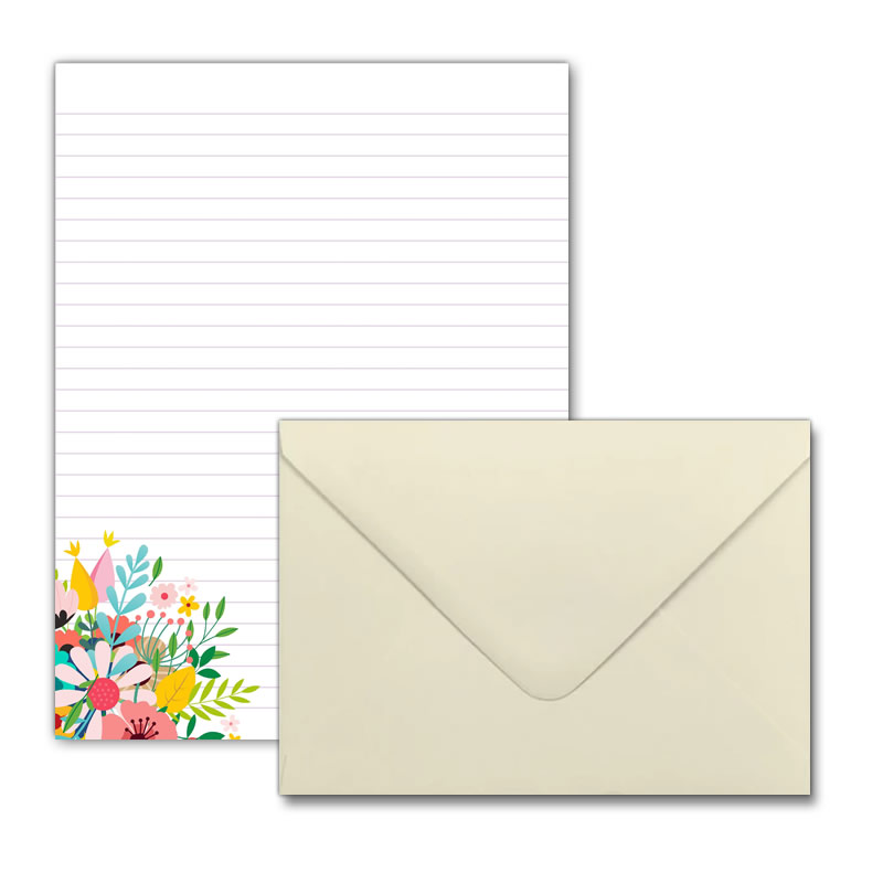 Letter Writing Set - Design #1  - Notepad + 50 Envelopes