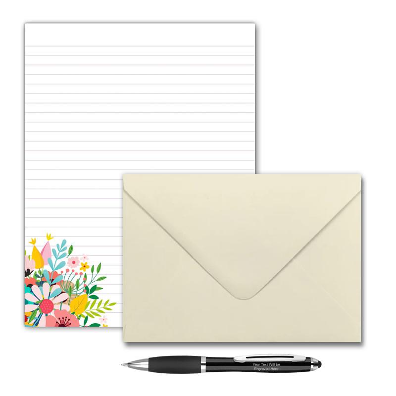 Letter Writing Set - Design #1  - Notepad + 50 Envelopes + Pen