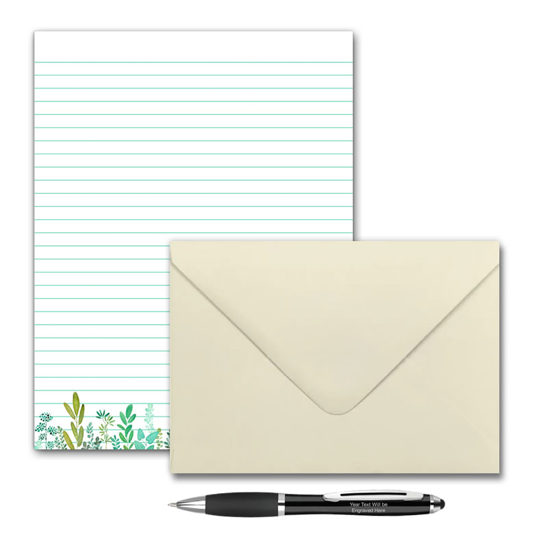 Letter Writing Set - Design #2  - Notepad + 50 Envelopes + Pen