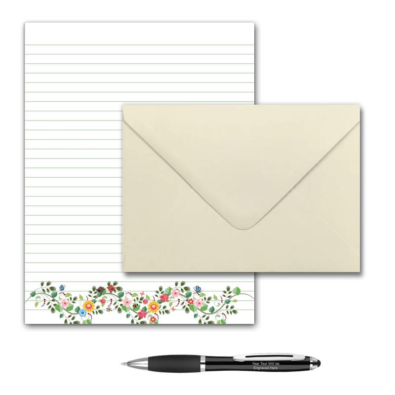 Letter Writing Set - Design #5  - Notepad + 50 Envelopes + Pen