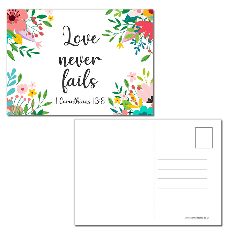 Postcard Gift Framing Print - Floral - Love Never Fails 1 Cor 13:8  - Pack of 10