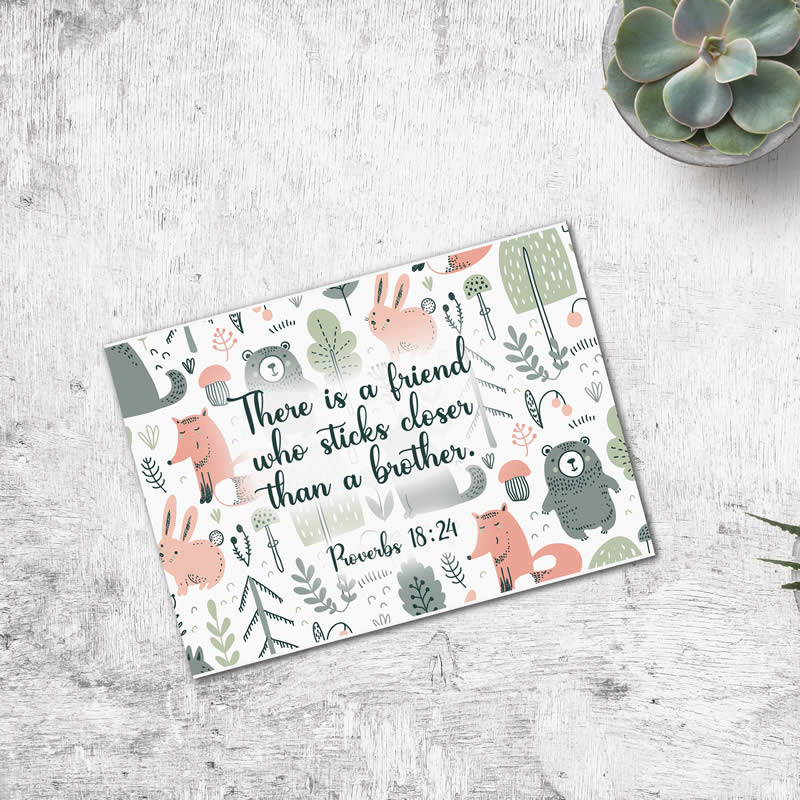 Postcard Gift Framing Print - Bears and Fox - Friend - Proverbs 18:24  - Pack Size