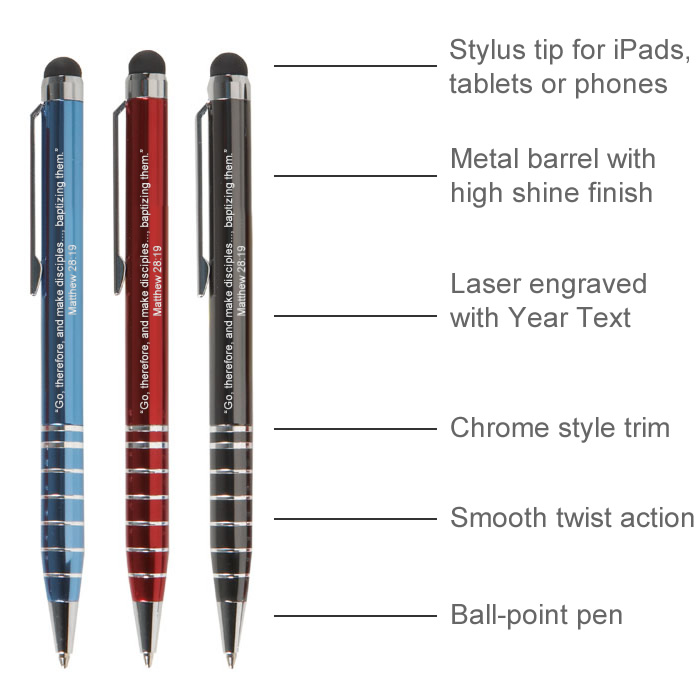 2020 Metal Stylus Pen with Year Text