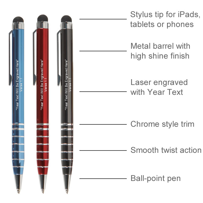 2021 Metal Stylus Pen with Year Text