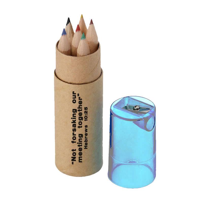 Colour Pencils Tube - 6 Pencils - Heb 10:25 - Lid Colour